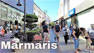 Walking in Marmaris' city center around the Grand Bazar, Turkey, 2021