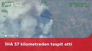 Marmaris'teki orman yangınını İHA'lar tespit etti