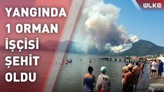 Marmaris'te orman yangını; plajdakiler korkuyla izledi!