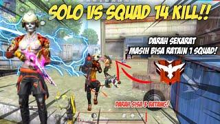 SOLO VS SQUAD ! DARAH SISA 3  BATANG MASIH BISA NGERATAIN 1 SQUAD || Free Fire Battleground