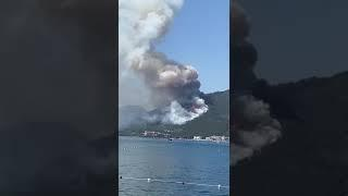 Icmeler Marmaris forest fire as seen from the sea today 27.06.2021